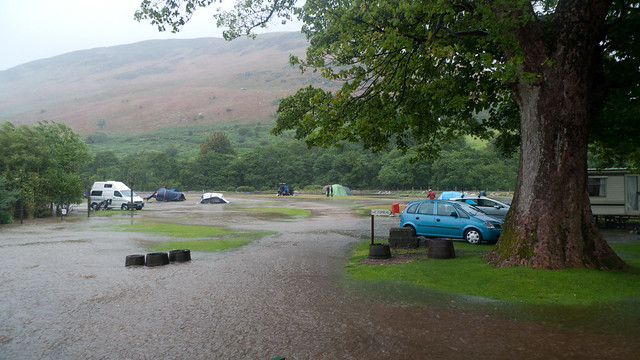 The flooded campsite, waters rapidly rising