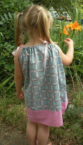 pillowcase dress blue flowers with pink (1)