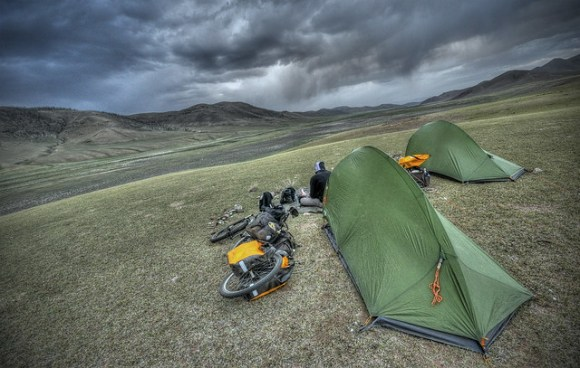 Camping under the stormclouds in Mongolia