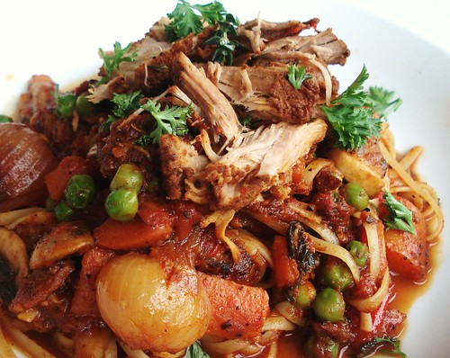 tender 5-spice pulled pork over linguine
