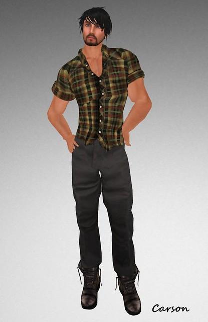 HB - Madden  Brown Plaid Shirt & Manny Black Dickies Pants $10L