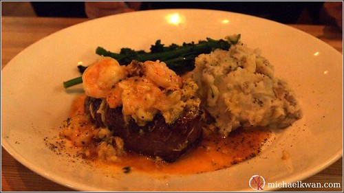 Fire-Grilled Top Sirloin with Chilean Crab and Tiger Shrimp in a Lobster Butter Sauce