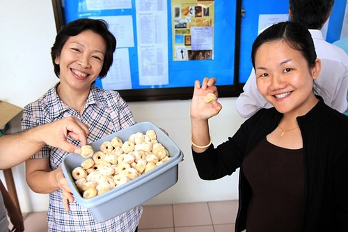 L-R Miri Methodist District Social Concerns Worker Magdeline Huang & Pastor Connie Yong during tea break