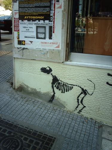 Canine skeleton stencil graffiti
