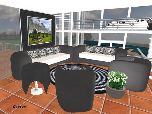ARTE'S FATO & FURNITURE  Black and White Livingroom   8 Piece