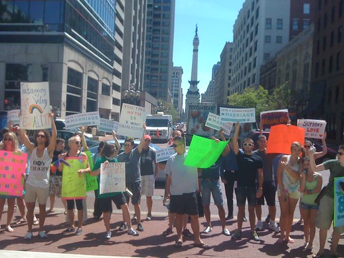 Equality counter-protestors in Indianapolis
