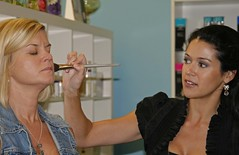 getting her make up done by a hollywood Make-up artist