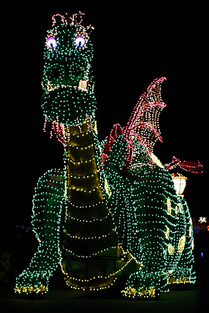 Giant green dragon from Disney's Electric Parade
