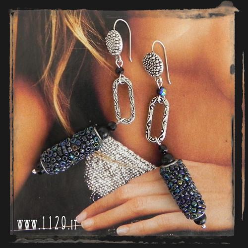 LMREKAO orecchini  neri perla kashmir   kashmiri black earrings 1129