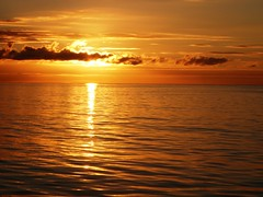 Beautiful ocean sunset, orange, red, water, clouds, sun