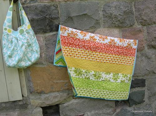 Birdie sling bag and apple stripe quilt