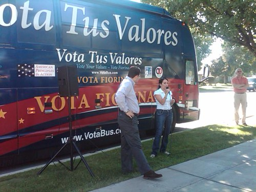 Alfonso Aguilar and Karyme Lozano speaking in Madera