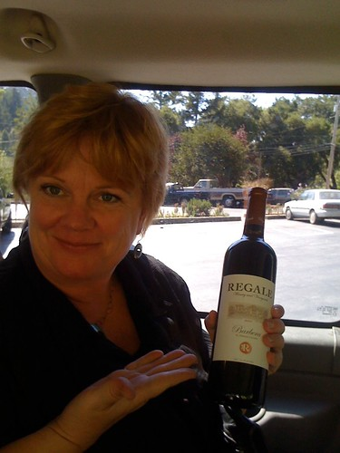 Brenda holding the Barbera I bought - YUM
