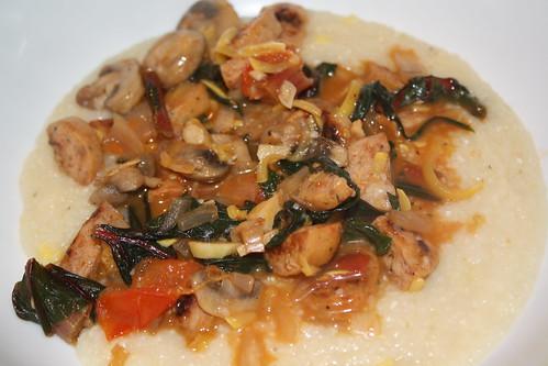 Mushrooms, sausage & grits