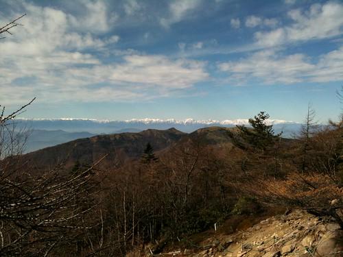 篭ノ登山から臨む南アルプスの尾根