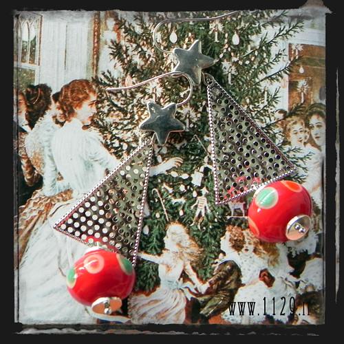 LNRONA orecchini rossi argento albero di natale lampwork red silver christmas tree earrings 1129