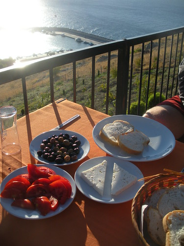 Dinner on the terrace above the Aegean