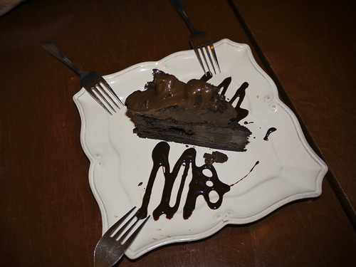 finishing our meal with a just 'ok' chocolate layer cake for dessert