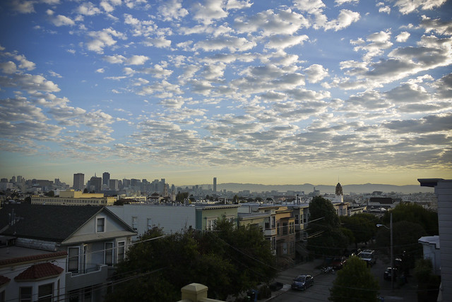 october sky, san francisco skyline