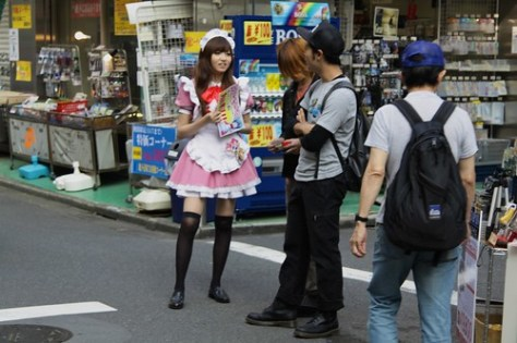 Looking for customers for a maid cafe, Akihabara