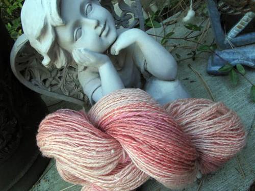 Handspun Pink 2-ply Lace