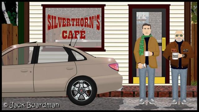 Outside Silverthorn's Café