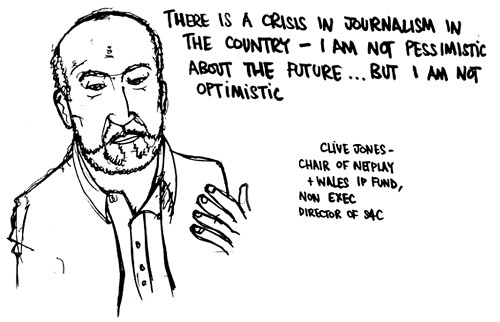 Clive Jones, chair of Netplay and Wales IP Fund, non-exec director of S4C, Future of Regional news, Tomorrow's Journalists conference, Cardiff University
