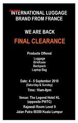 International Luggage Clearance