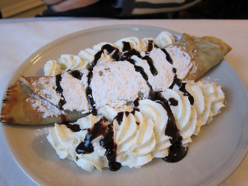 Pancake with Chocolate and Whipped Cream