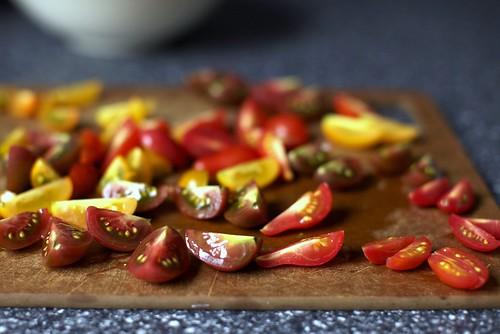 quartered tomatoes