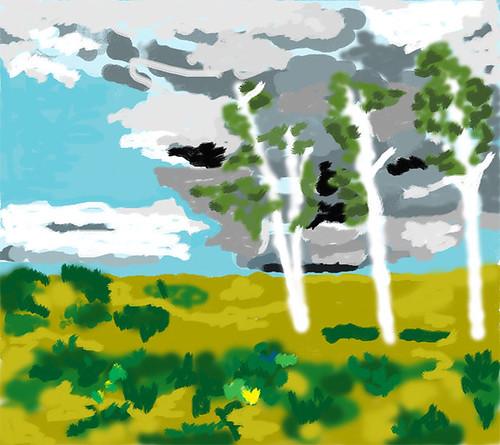 Three birches - digital painting