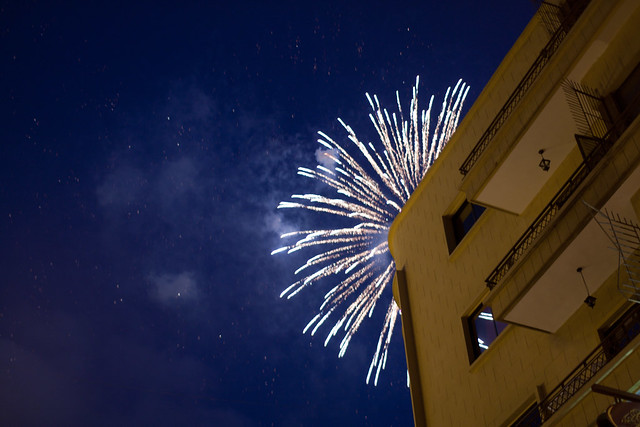 fireworks over hamra street buildings
