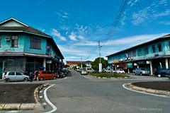 old timber shophouses at Papar town.