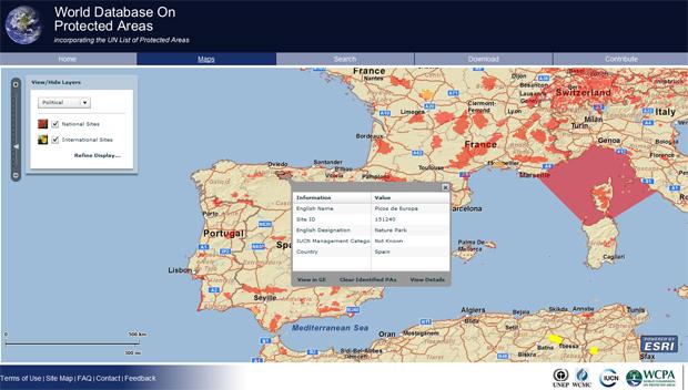mapa de espacios protegidos