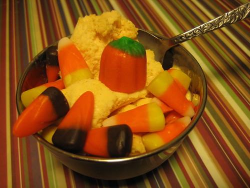 dessert-pumpkin ice cream and candy corn