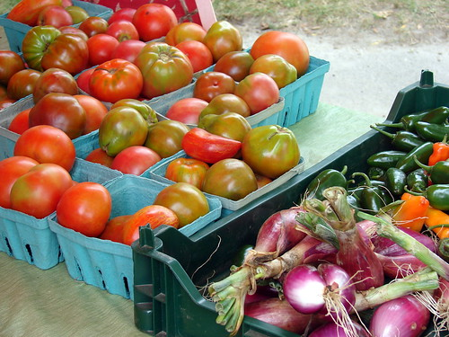 tomatoes, chilies, onions