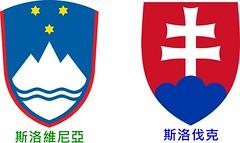 Slovenia的國徽 vs. Slovakia的國徽。