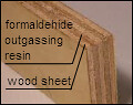 conventional plywood uses formaldehyde-outgassing adhesive