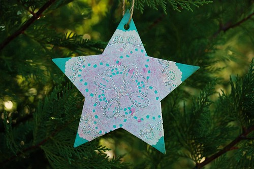 vintage doily and glitter star ornament