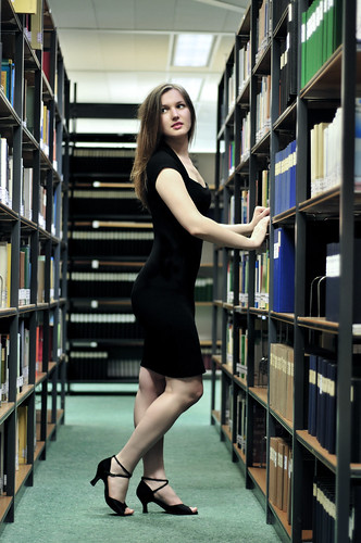 Katja in the library