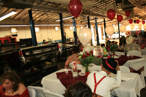 Quinceanera in auto body shop