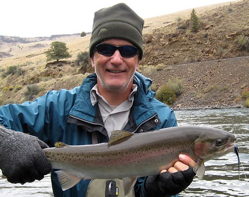 Mike Bates with a wild Deschutes River Steelhead, cropped