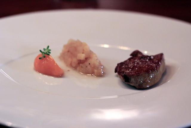 """roasted """"adour"""" foie gras, sea buckthorn gel, quince & szechuan pepper compote"""