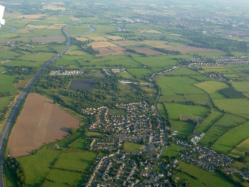 Tarraby to the right, the former Hadrian Camp near the centre, with the M6 snaking past