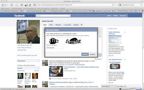 Random Facebook security captcha