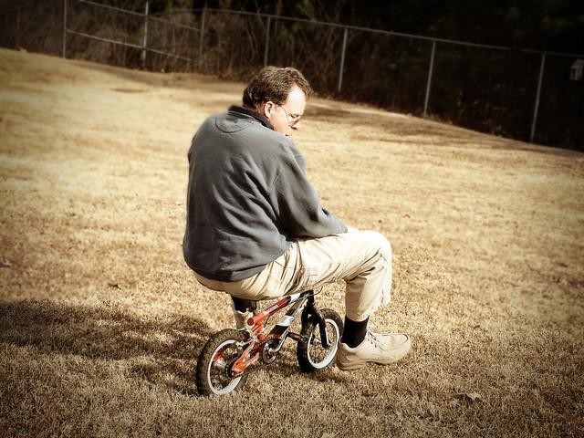 Chuck on bike