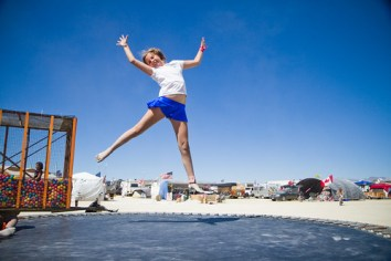 Jumpshot of Shimmer at Kidsville at Burning Man 2010