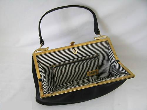 Handbag Black Felt Gold Crest 2