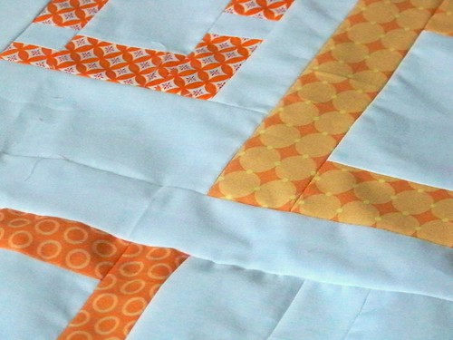 modern quilt top - orange squares with kona white background