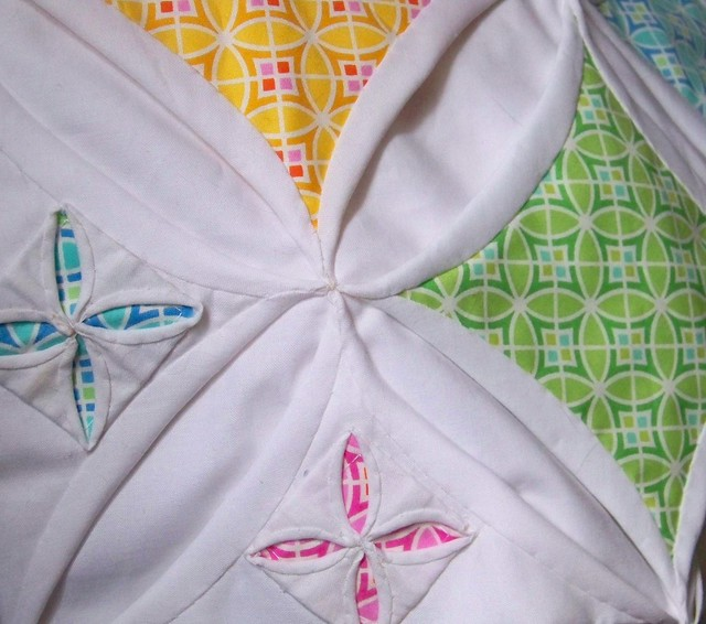 Doll Quilt Swap - cathedral windows and secret garden variation with Dena Designs Monaco Fabric